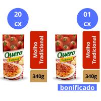Compre 20 cx (24 un cada) de Molho de Tomate Quero Trad. 340g e Ganhe 1 cx do mesmo item - Cód. C10902
