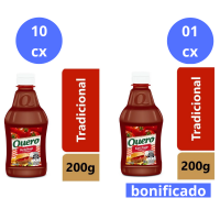 Compre 10 cx (24 un cada) de Catchup Quero Trad. 200g e Ganhe 1 cx do mesmo item - Cód. C10903