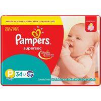 Fralda Pampers supersec pacotao P 34 unidades - Cód. 7506339391305C6