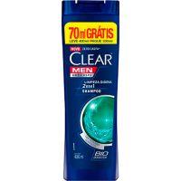 Kit Shampoo Anticaspa Clear 2 em 1 Limpeza Diaria Leve 400Ml Pague 330Ml - Cód. 7891150060975C12