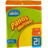 Pano Alklin Multiuso Amarelo 36X40 Com 2 Un - Cód. 7897750770023C24