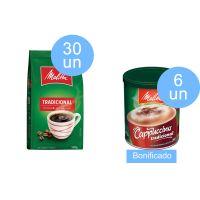 Compre 30 un Cafe Melitta Pouch Tradicional 500g Ganhe 6 un Cappuccino Melitta 200G Tradicional - Cód. C5725