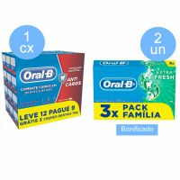 Compre 1 caixa (com 9 unidades) Creme Dental Oral-B 123 70 Gramas Pack Leve 12 Pague 9  Ganhe 2 un Creme Dental Oral-B 70G 3Un Extra Fresh - Cód. C9820
