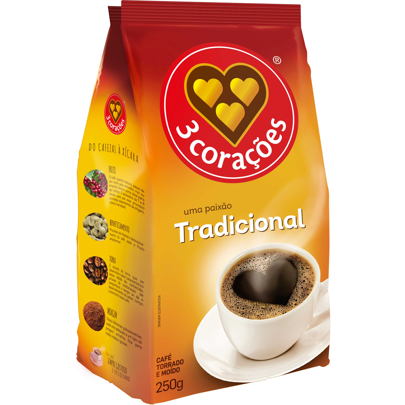 Cafe 3 Coracoes 250G Standpack Tradicional