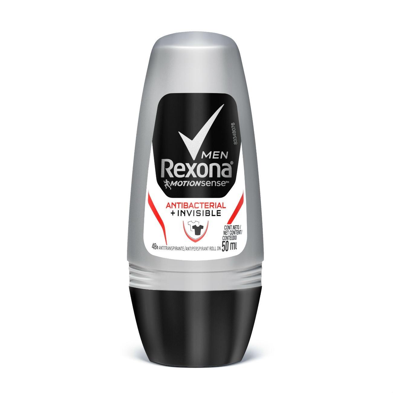 Desodorante Roll-On Rexona Men Antibacterial + Invisible 50G