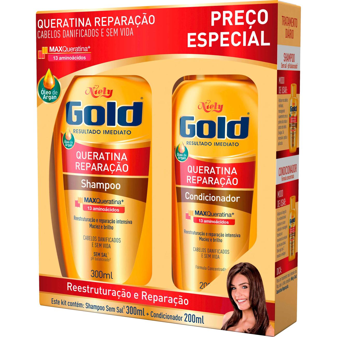 Shampoo Niely 300Ml+Condicionador 200Ml Queratina Reparacao