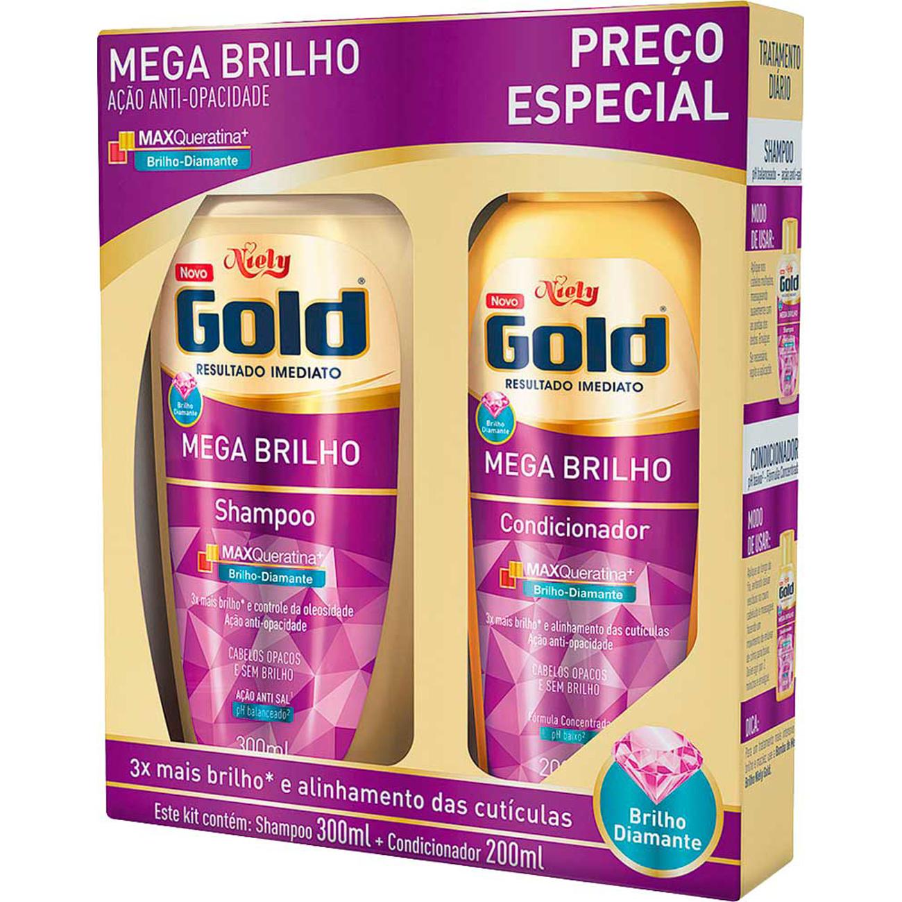 Shampoo Niely 300Ml+Condicionador 200Ml Mega Brilho
