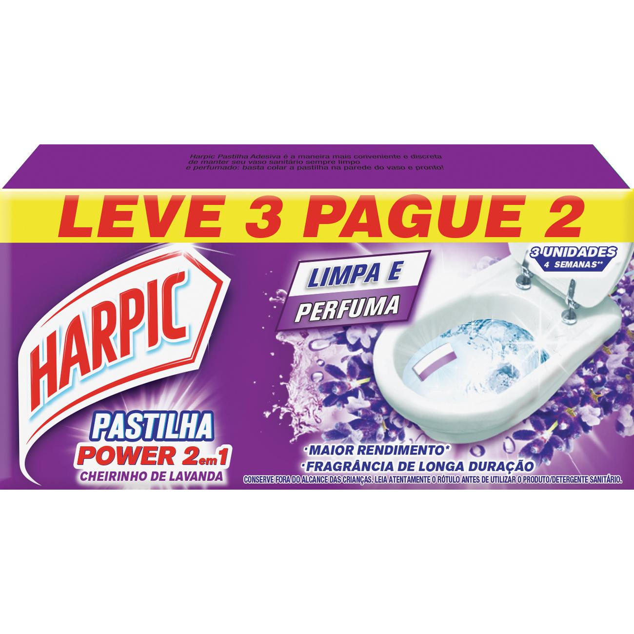 Desodorizador Harpic Pastilha Adesiva L3 P2 Lavanda 2Em1
