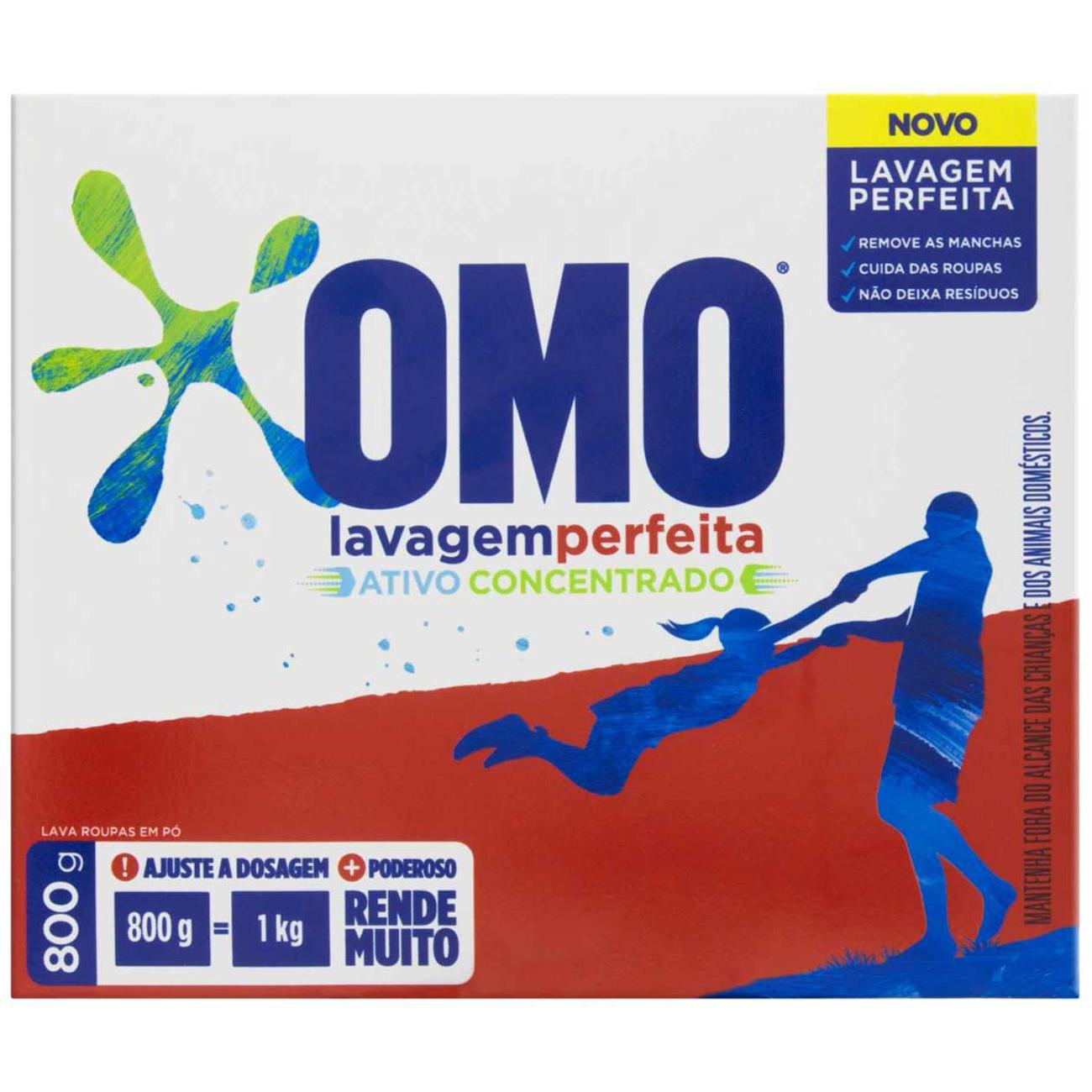 Detergente em Po Ativo Concentrado Omo Lavagem Perfeita Caixa 800G