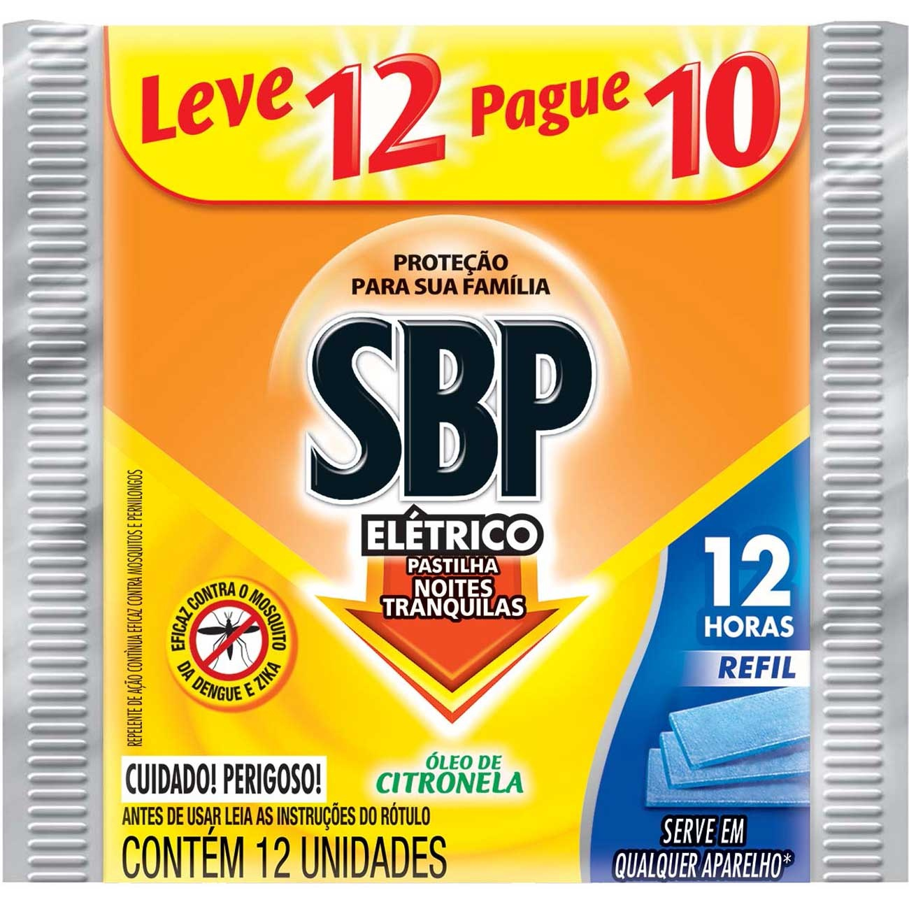 Inseticida Sbp 12H Eletrico Lv12 Pg10 Refil Citronela