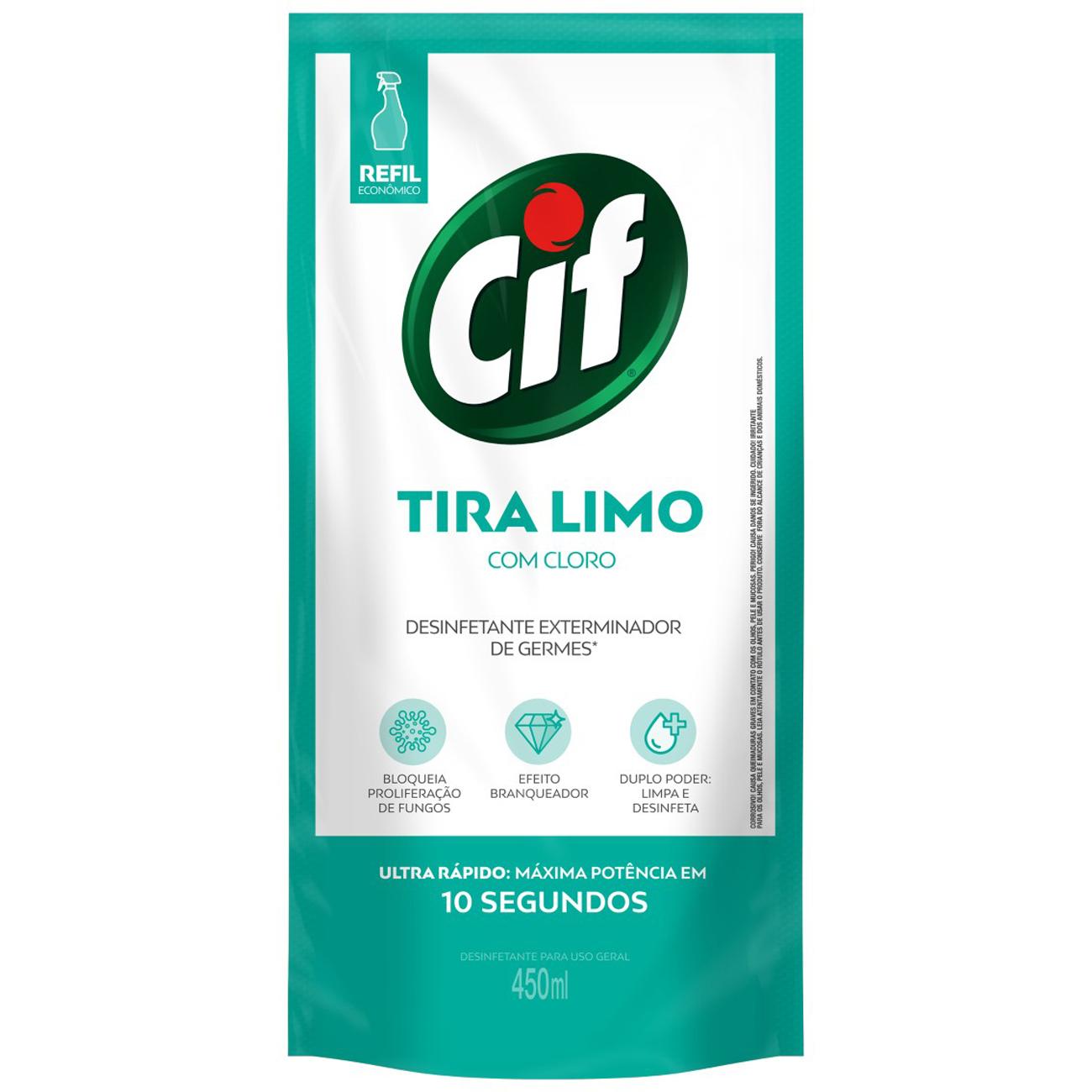 Refil Limpador Cif Ultra Rapido Tira-Limo 450Ml