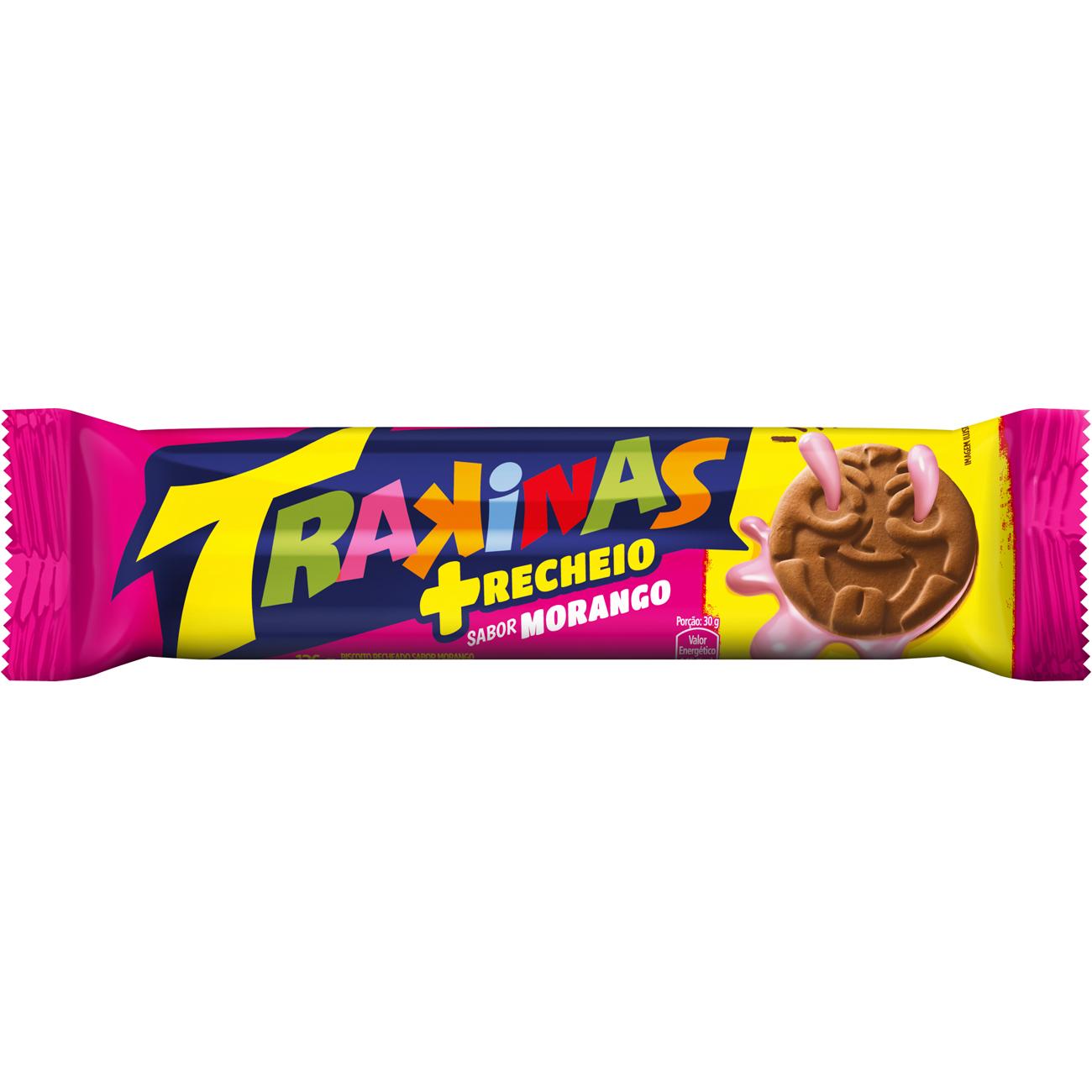 Biscoito Trakinas Mais Morango 126 G