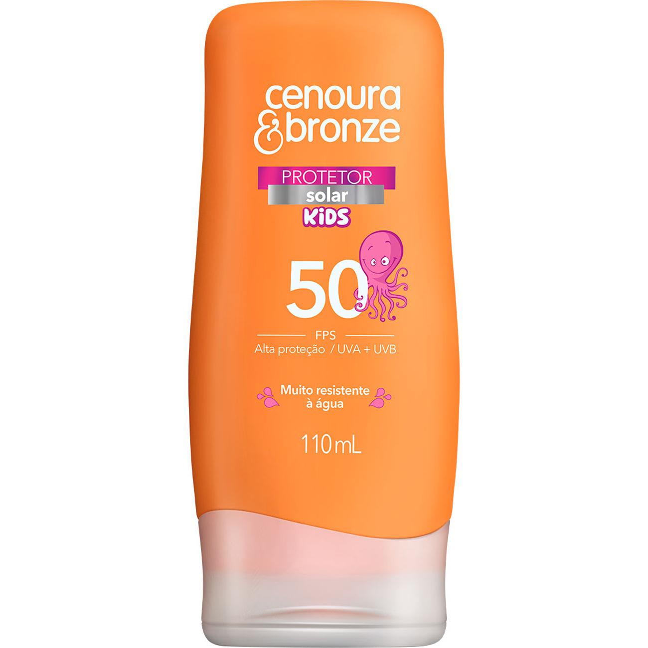 Protetor Solar Kids Cenoura e Bronze FPS 50 110ml