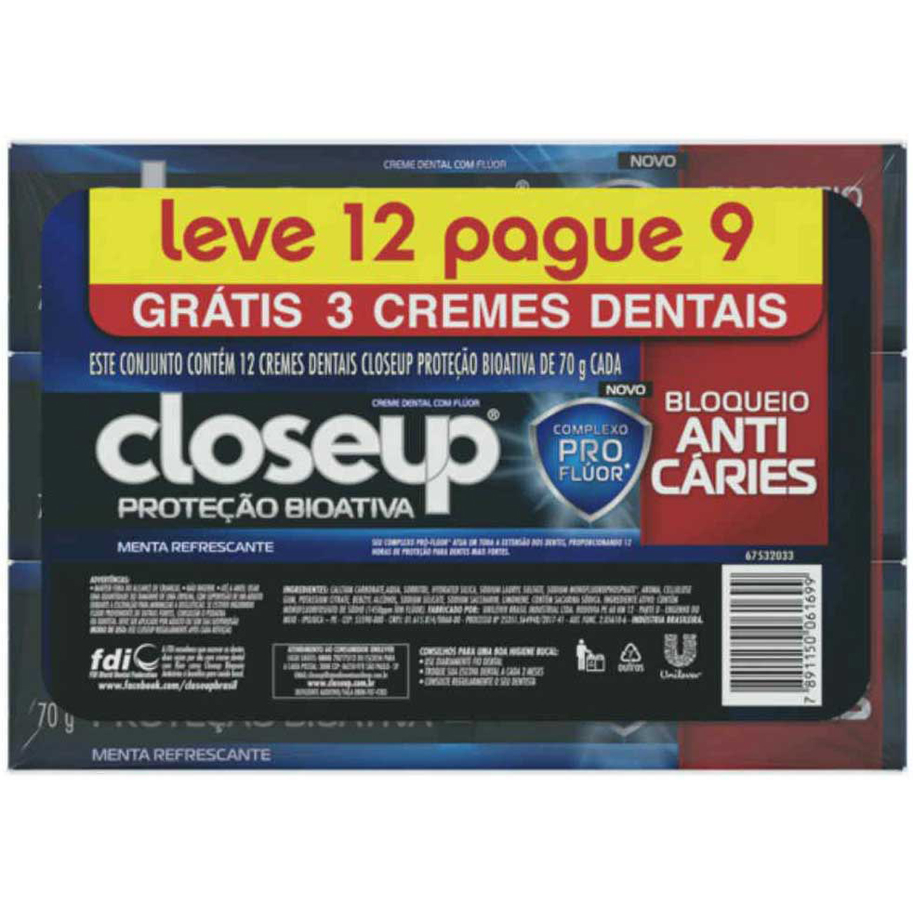 Creme Dental Close Up Protecao Bioativa Anticare leve 12 pague 9 70g