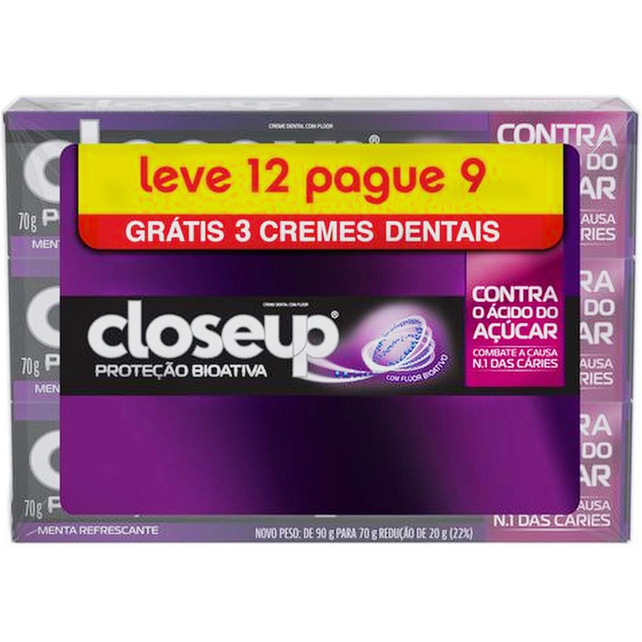 Creme Dental Close Up Protecao Bioativa leve 12 pague 9 70g