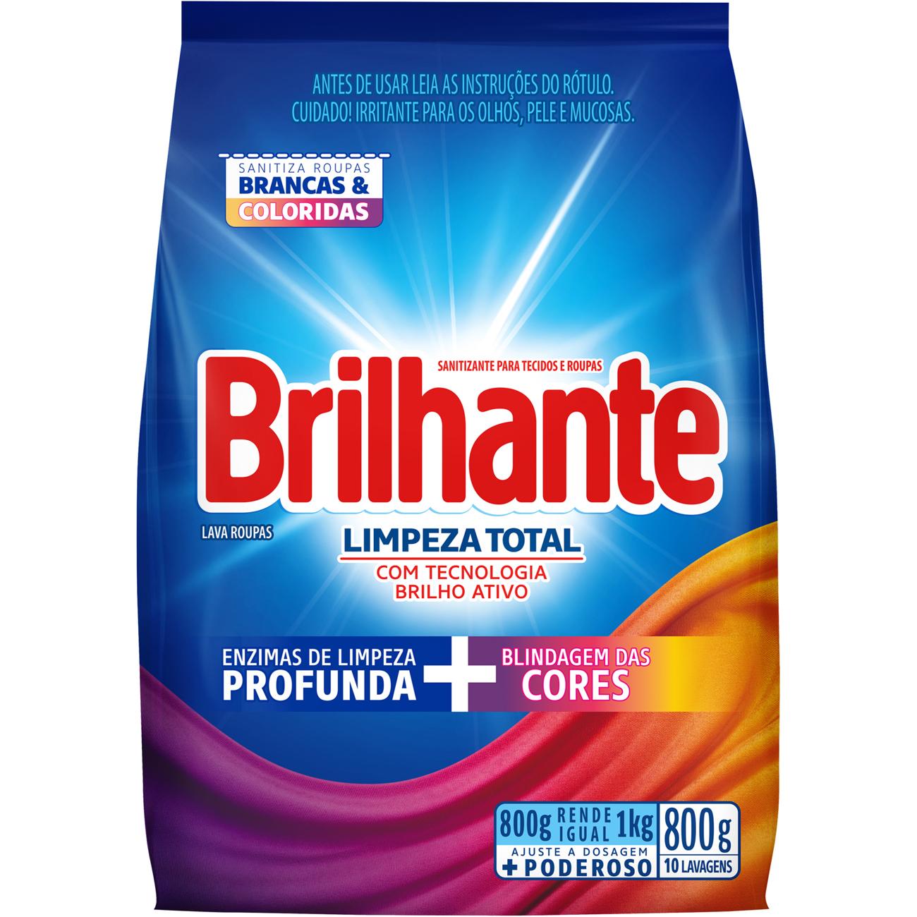 Detergente em Po Brilhante Limpeza Total 800G