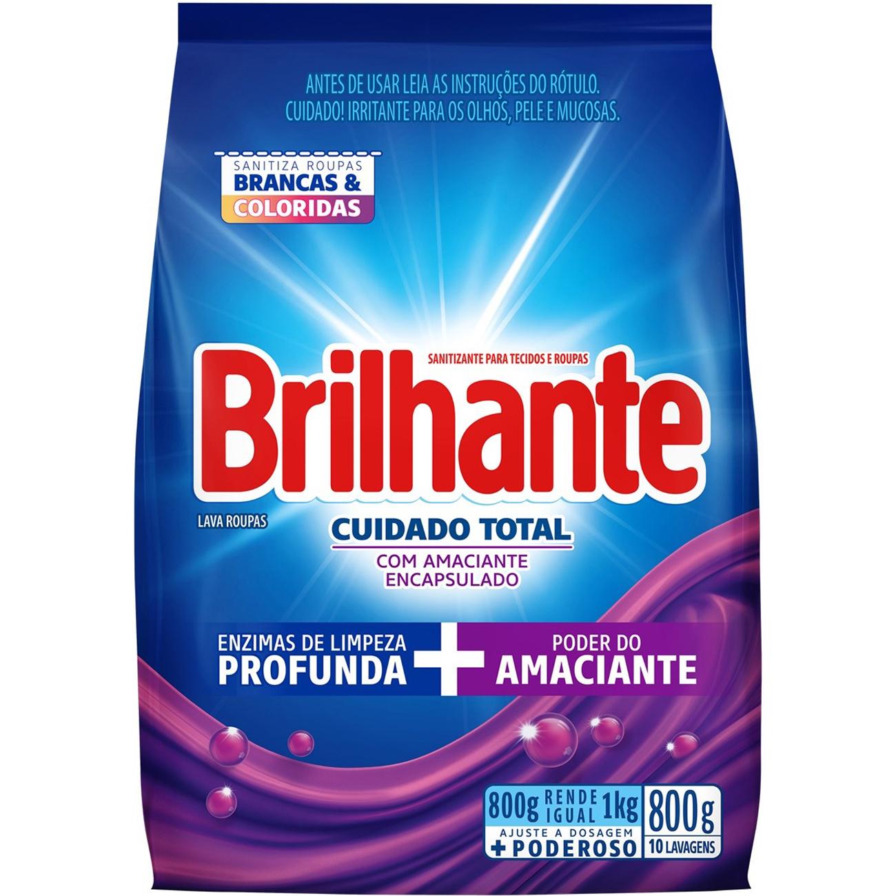 Detergente em Po Brilhante Cuidado Total 800g