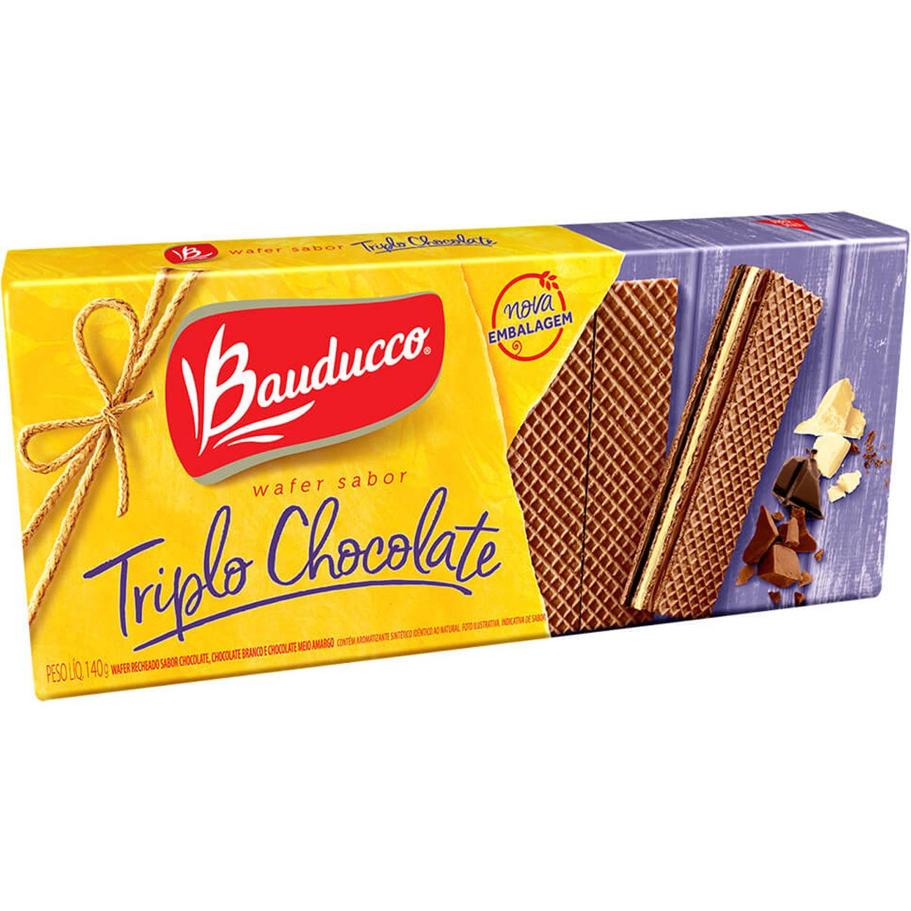 Biscoito Bauducco 140G Wafer Triplo Chocolate