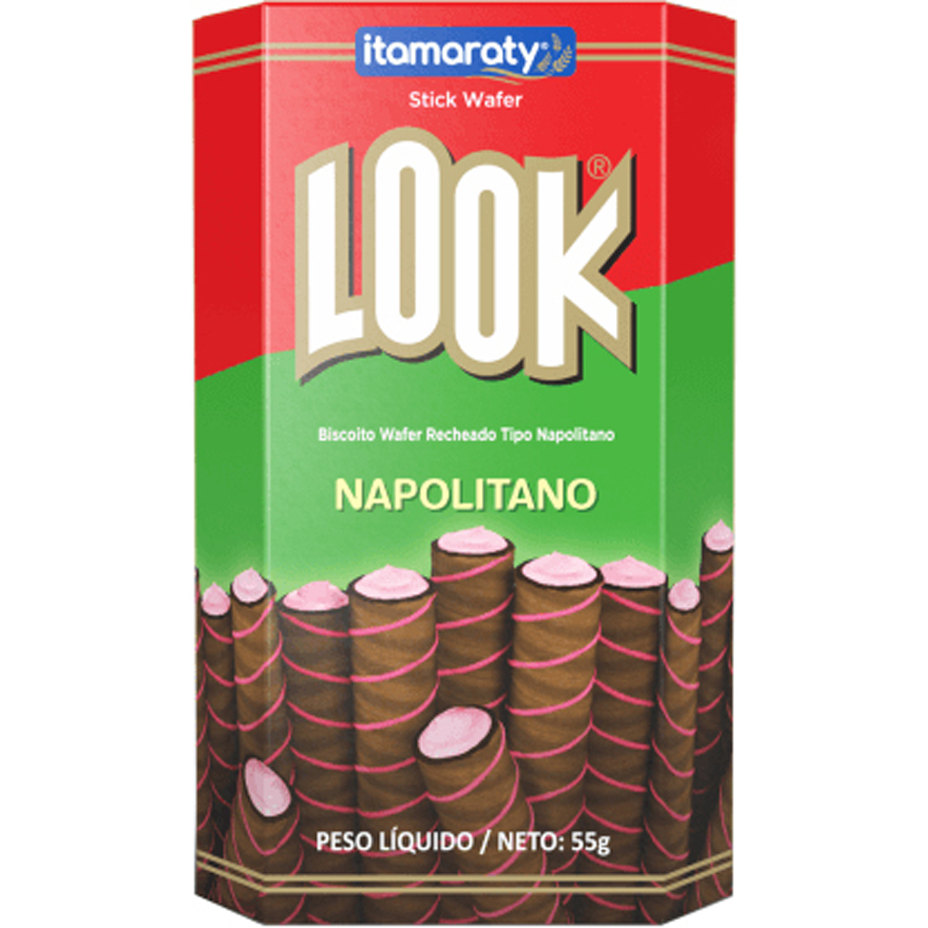 Biscoito Look Stick 55G Waffer Napolitano