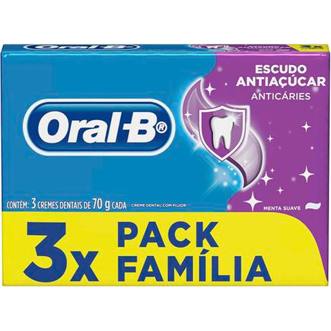Creme Dental Oral-B 70G 3Un Anti Acucar