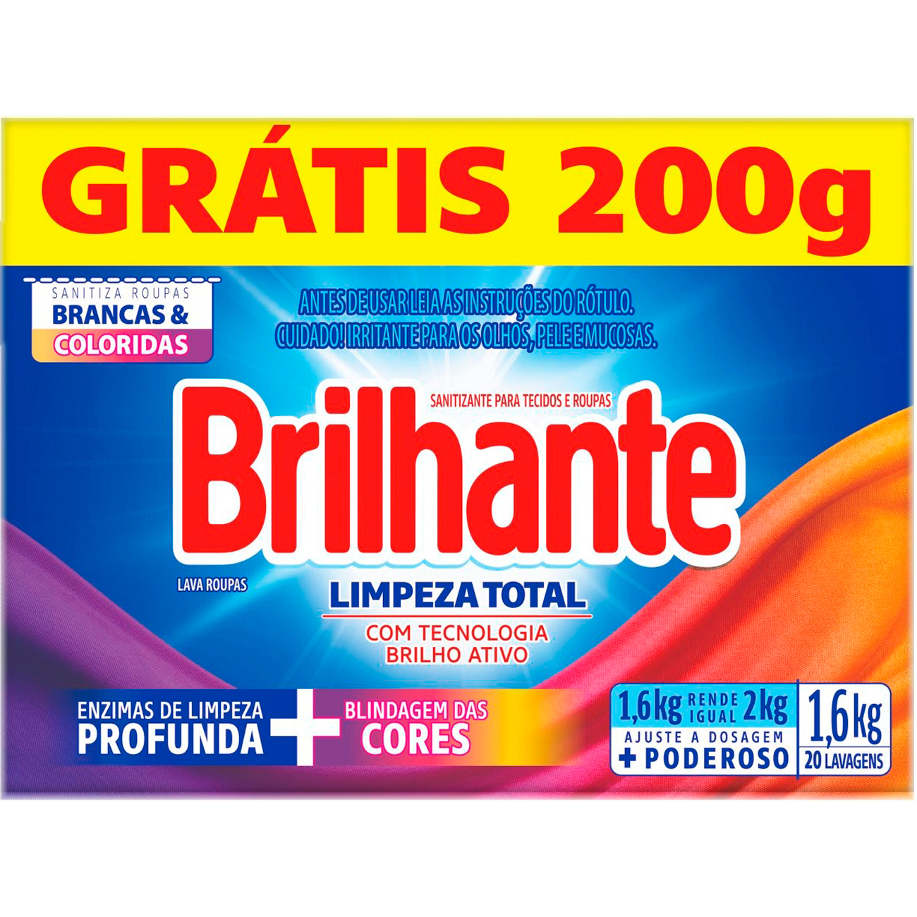 Detergente em Po Brilhante Sn 16Kg Pg14Kg Cx Limpador Total