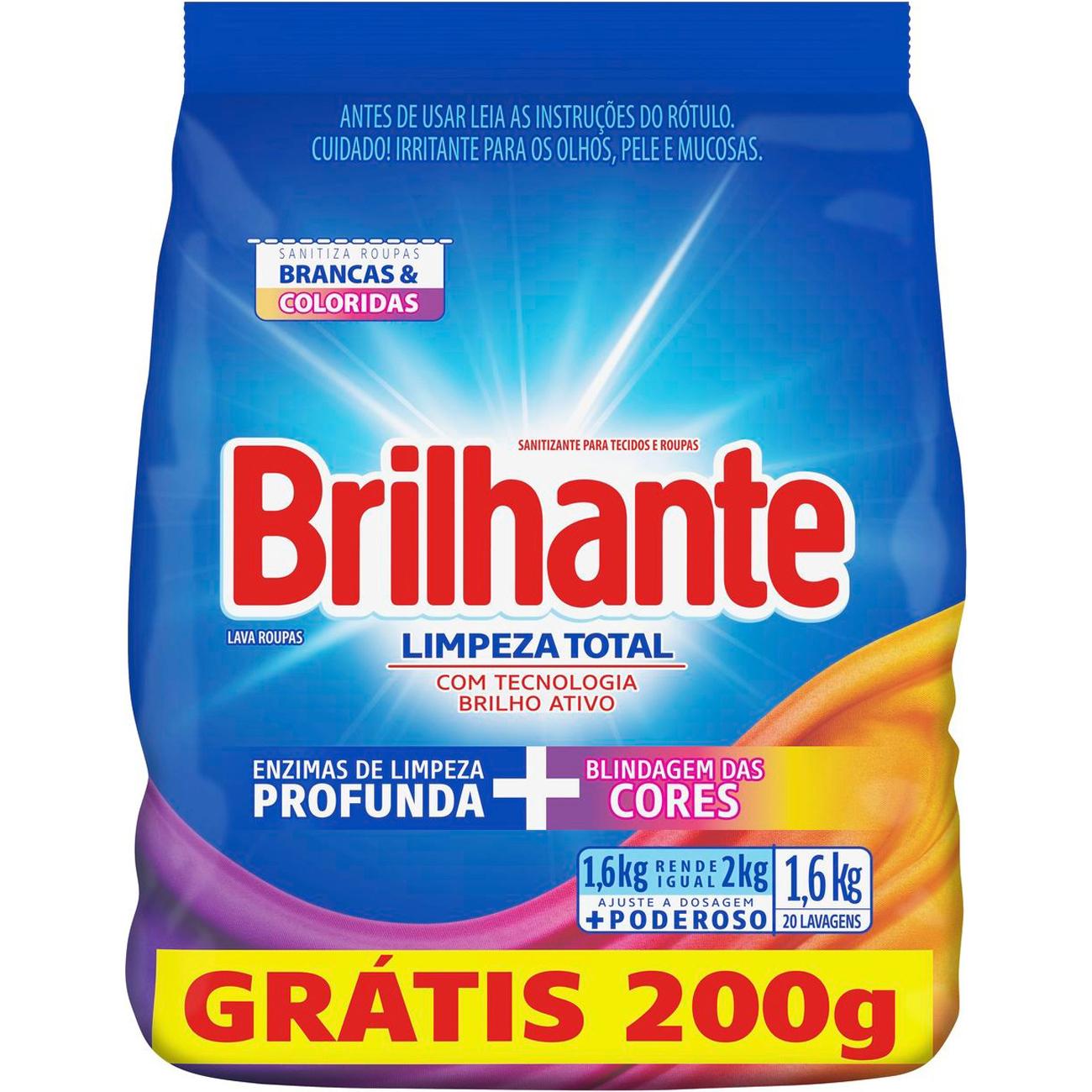 Detergente em Po Brilhante Sn 16Kg Pg14Kg Sc Limpador Total