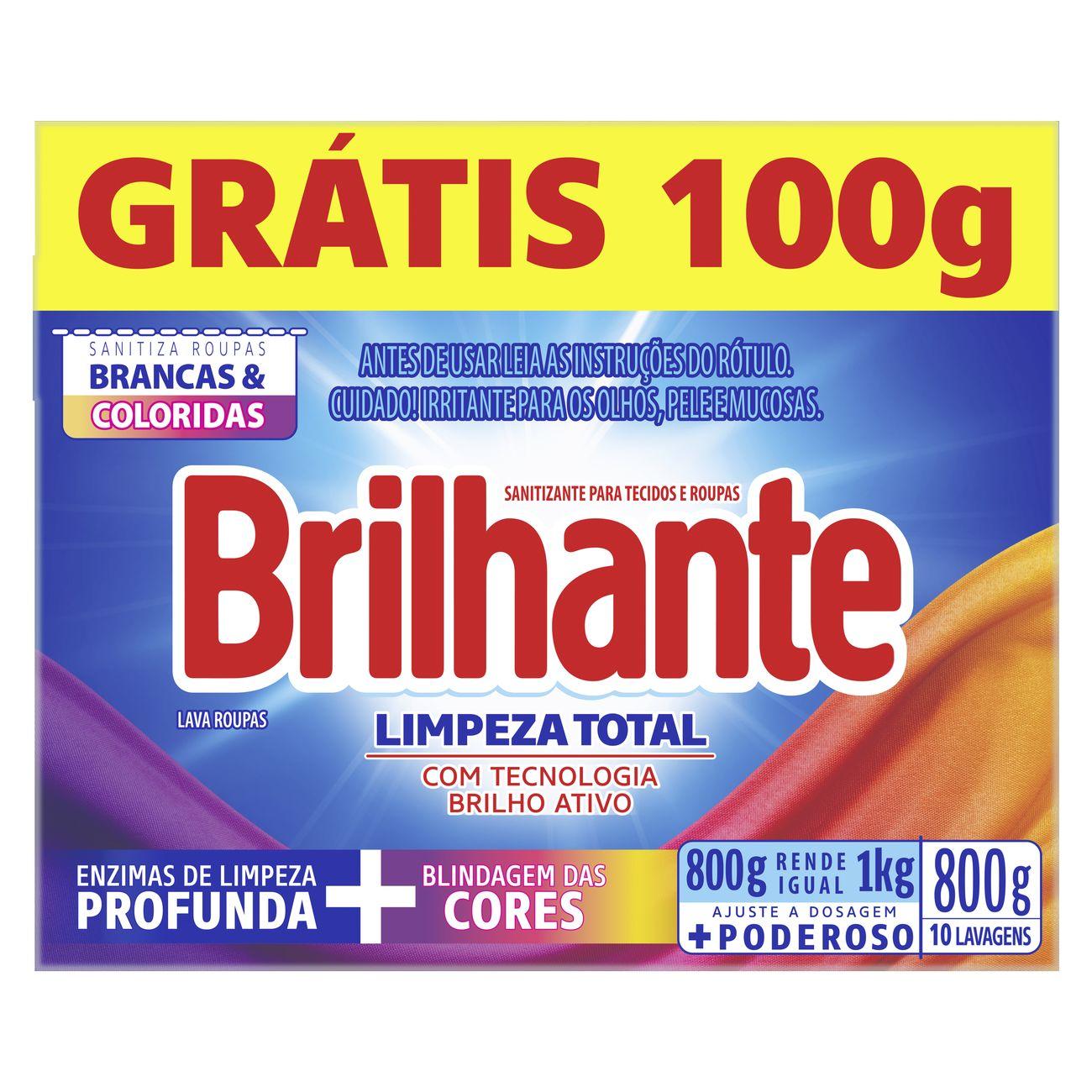 Detergente em Po Brilhante Sn 800G Pg 700G Cx Limpador Total