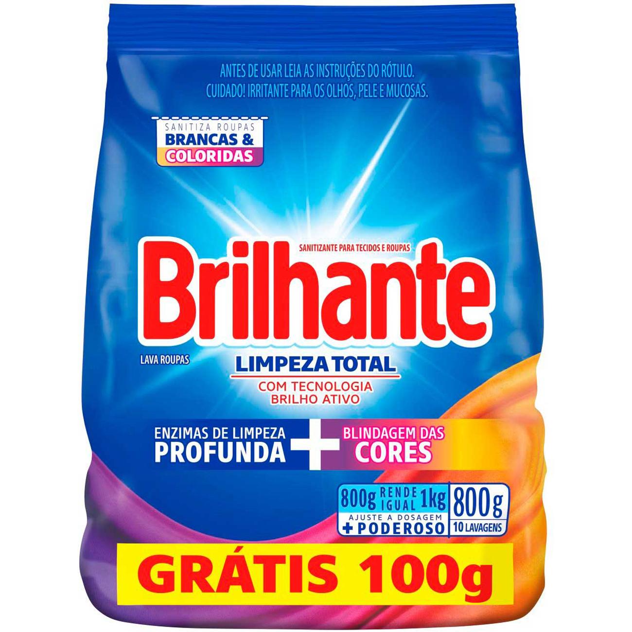 Detergente em Po Brilhante Sn 800G Pg 700G Sc Limpador Total