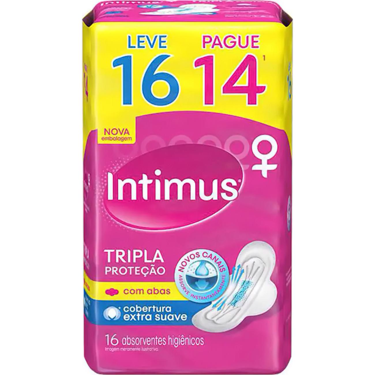 Absorvente Intimus Gel Normal C/Abas L16 P14 Seca