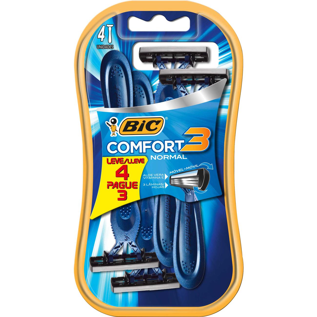 Aparelho de Barbear Bic Comfort 3 Pele Normal Leve 4 Pague 3 Unidades
