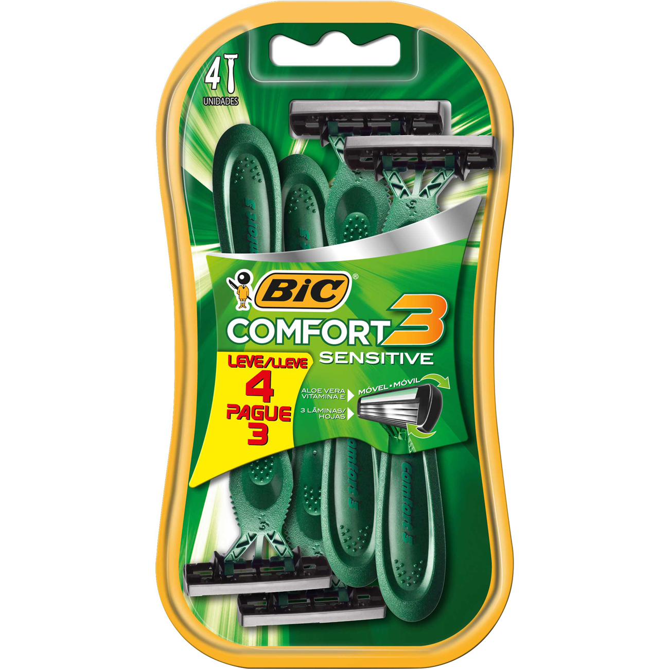 Aparelho de Barbear Bic Comfort 3 Pele Sensivel Leve 4 Pague 3 Unidades