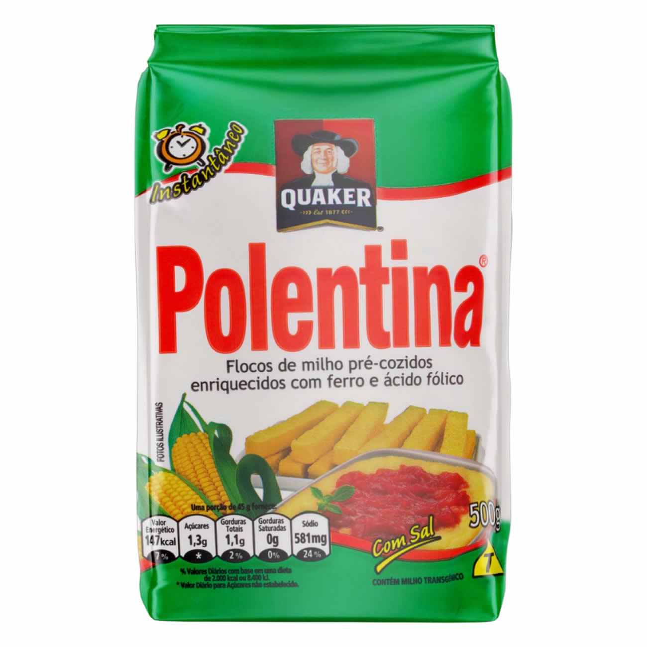 Flocos De Milho Pré-Cozido Quaker Polentina Pacote 500G