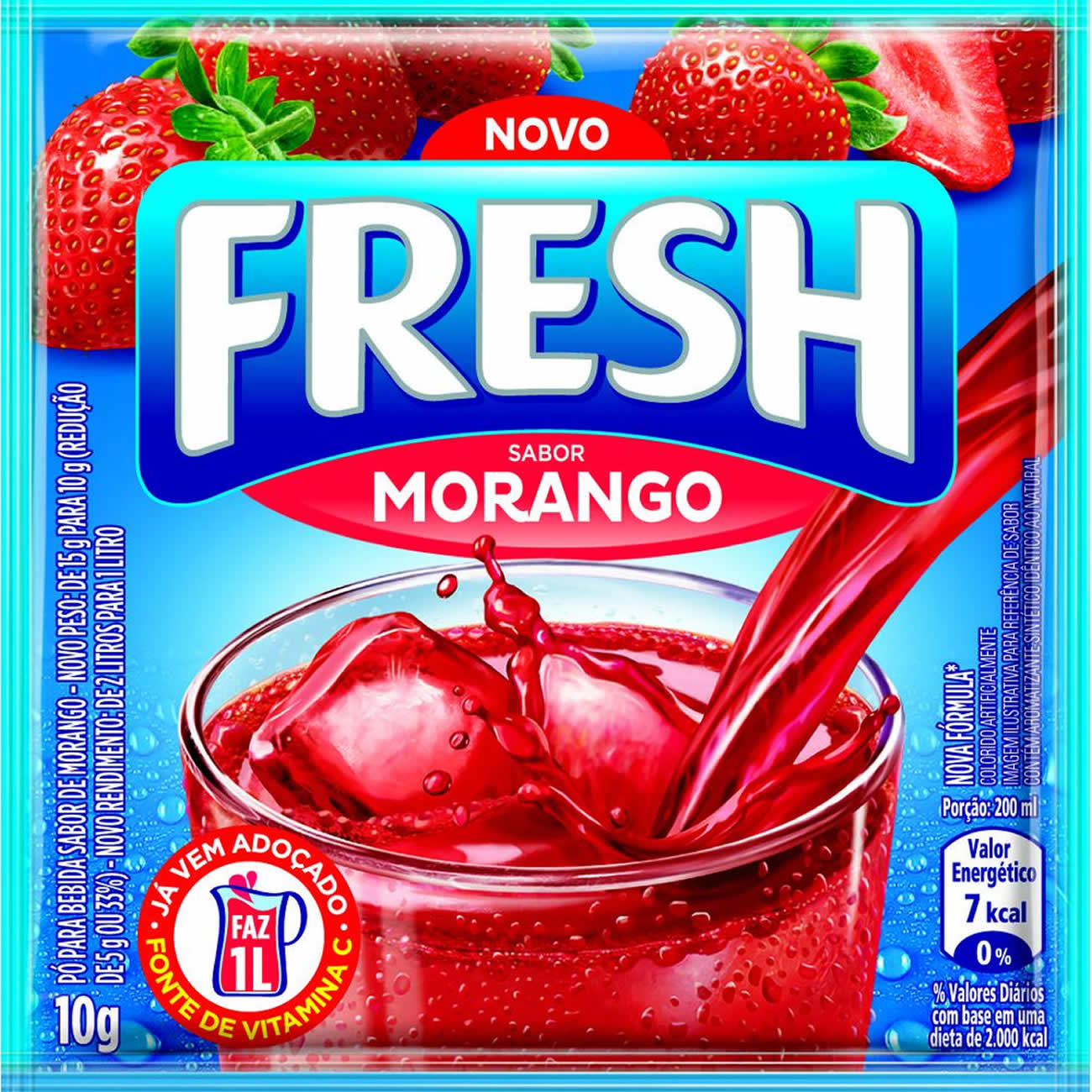 Refresco em Po Fresh Morango 10g