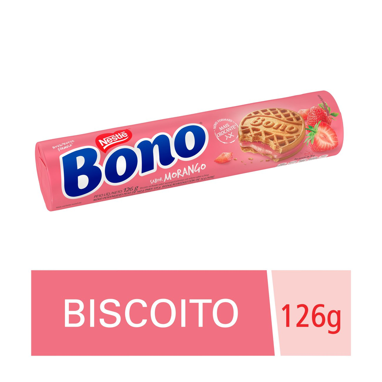 Biscoito Recheado Bono Morango 126g