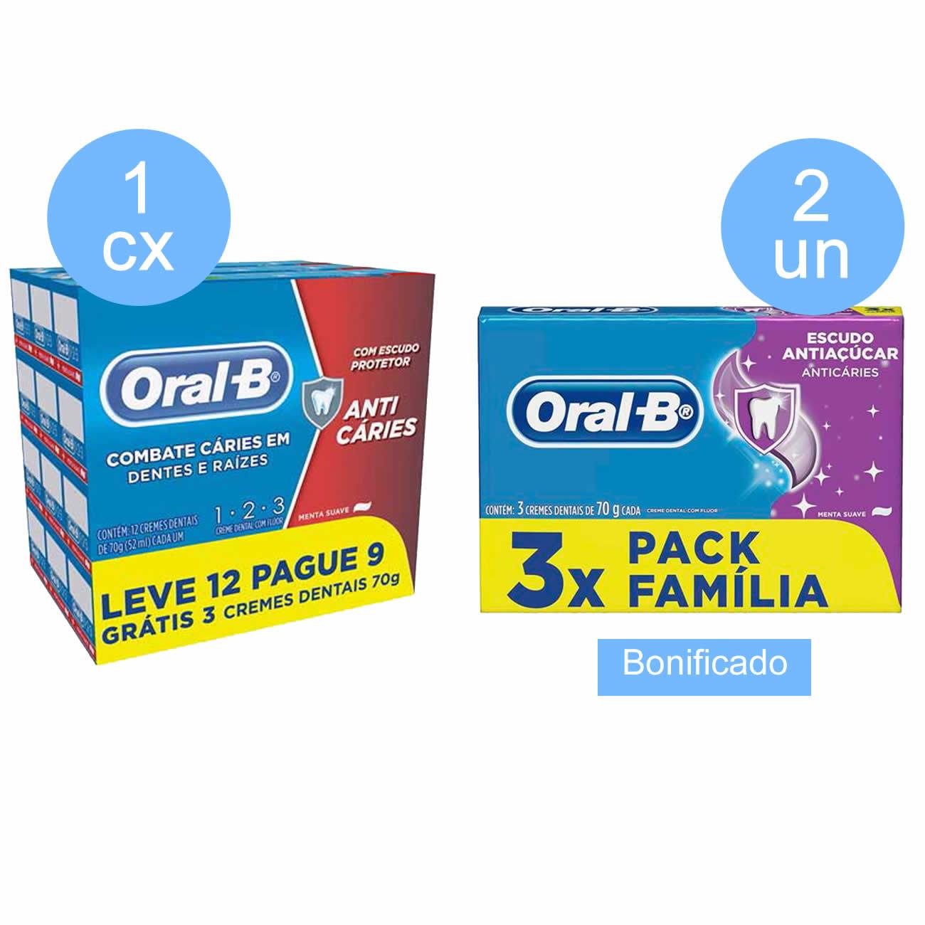Compre 1 caixa (com 9 unidades) Creme Dental Oral-B 123 70 Gramas Pack Leve 12 Pague 9  Ganhe 2 un Creme Dental Oral-B 70G 3Un Anti Acucar